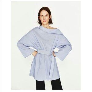 Zara off shoulder poplin tunic dress blue xl women